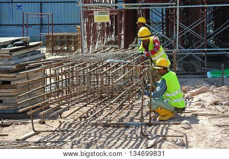 SELANGOR, MALAYSIA -SEPTEMBER 03, 2015: Pile cap form work with reinforcement bar in it at construction site in Selangor, Malaysia.