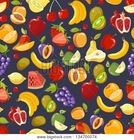 Vector seamless pattern with cute bright summer fruits. Grape and strawberry fruit. Blackberry and apple pattern from fruit illustration