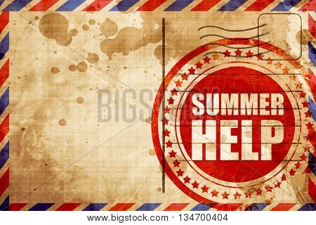 summer help, red grunge stamp on an airmail background