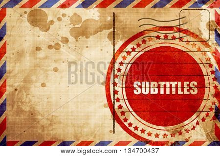 subtitles, red grunge stamp on an airmail background