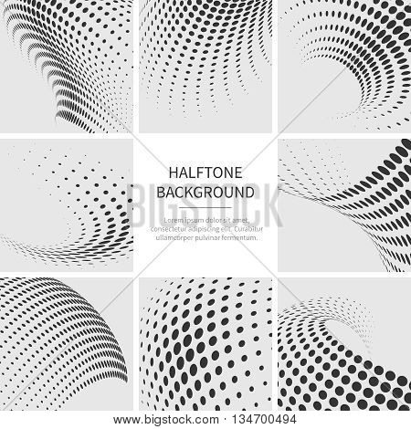 Grunge halftone dotted abstract vector backgrounds set. Dotted grunge texture and pattern dotted of collection illustration