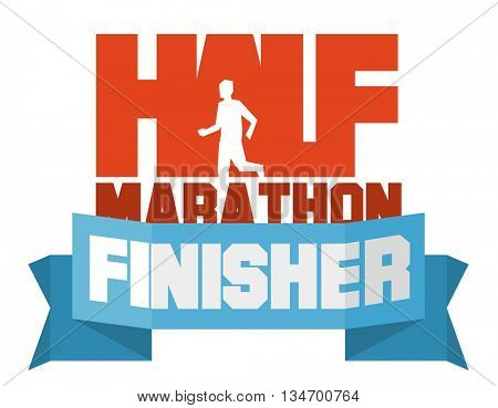 Half marathon running finisher. Flat vector illustration.