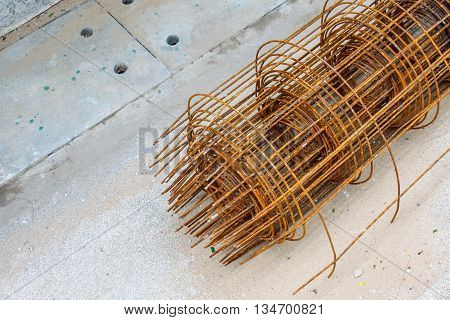 Old steel rebar in a construction site