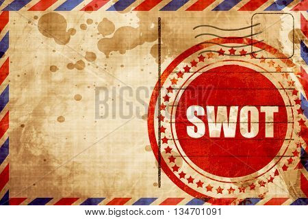swot, red grunge stamp on an airmail background