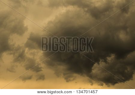 Threatening dark sky with clouds during stormy weather
