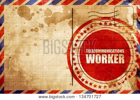 telecommunications, red grunge stamp on an airmail background