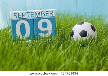 September 9th. Image of september 9 wooden color calendar on green grass lawn background. Autumn day. Empty space for text. International Beauty Day.