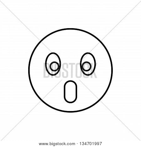 Frightened emoticon with open mouth icon in outline style isolated on white background