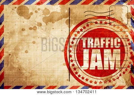 traffic jam, red grunge stamp on an airmail background