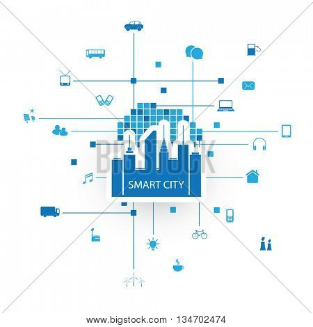 Smart City Design Concept with Icons