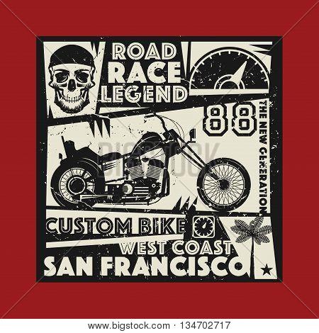 Vintage Motorcycle sport race label, vector illustration