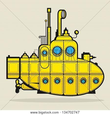 Yellow Submarine color cartoon, abstract vector illustration.
