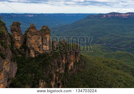 Three Sisters rock formation viewed from Echo Point lookout. Iconic Australian tourist attraction in Blue Mountains National Park NSW Australia