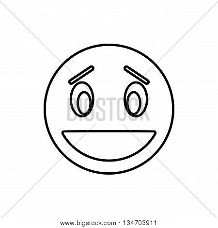 Confused emoticon with open mouth icon in outline style isolated on white background