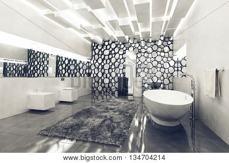 Luxurious clean bathroom with white tub and walls with honeycomb decor. 3d Rendering.