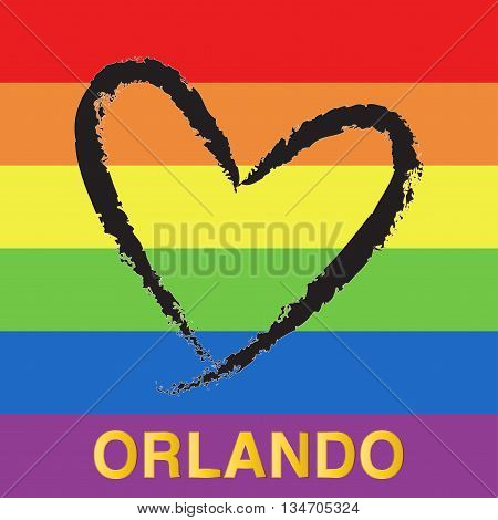 Pray for Orlando. Black heart shape on rainbow flag background. Orlando tragedy 12 June 2016. Vector illustration. EPS10.