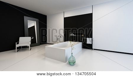 Minimalist modern black and white bathroom interior with a chair and large mirror against the wall in a spacious corner perspective with copy space. 3d Rendering.
