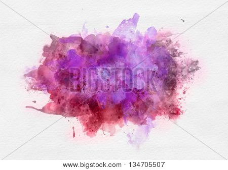 Pink and red watercolor paint banner with random brushstrokes as a central band over textured white paper with copy space for a design template
