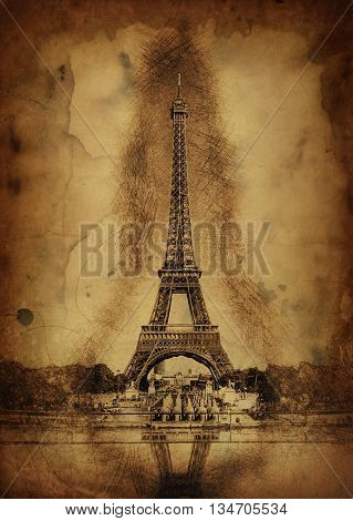 Pencil Line Sketch of Historical Eiffel Tower with Shading and Reflection in Water Fountain on Aged Sepia Paper - Artistic Rendering of Eiffel Tower Landmark in Paris, France