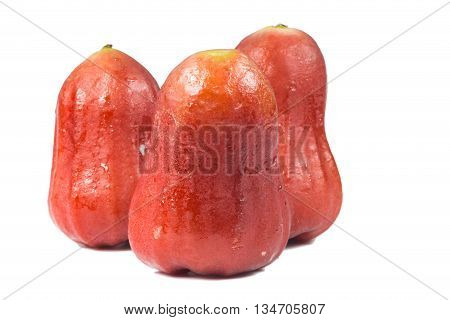 red rose apple isolated on white background