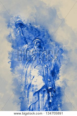 Statue of Liberty, symbol of United States of America, in blue shades on watercolor spatters on paper
