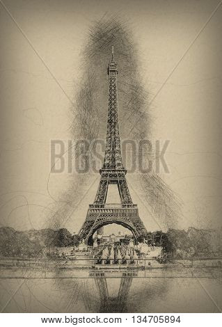 Pencil Line Sketch of Historical Eiffel Tower with Shading and Reflection in Water Fountain on Aged Yellow Paper - Artistic Rendering of Eiffel Tower Landmark in Paris, France
