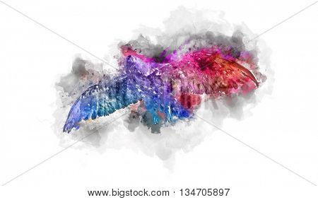 Colorful watercolor painting of an eagle in flight with a gradient splash effect of blue through purple to red on textured paper