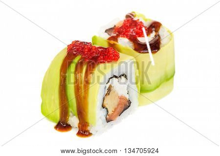 Uramaki maki sushi, two rolls isolated on white. Avocado with oyster sauce and ikura outside, philadelphia chheese, eel inside.