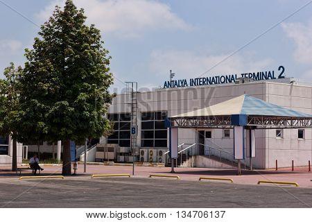 ANTALYA TURKEY - JULY 10 2015: Antalya International Airport every day receives many tourists from around the world