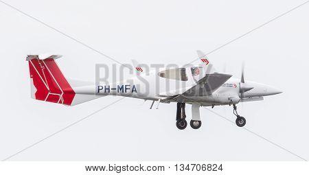 Leeuwarden, The Netherlands - June 11, 2016: Martinair Flight Academy Prop Plane During A Demonstrat