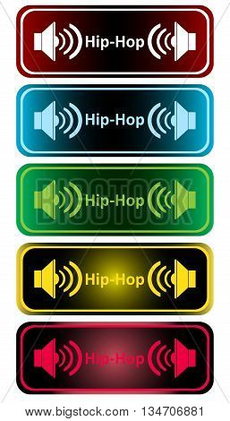 Clipart with color loudspeakers and an inscription hip-hop