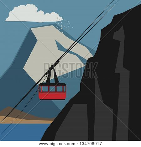 Winter mountain cable car adventure background, vector illustration
