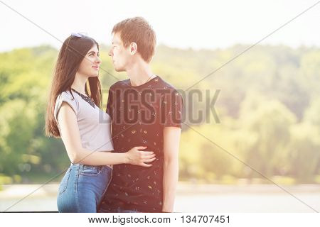 Inlove Couple Smiling Each Other