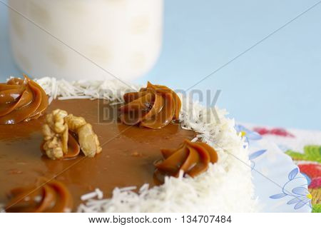 biscuit cake with cream on the table