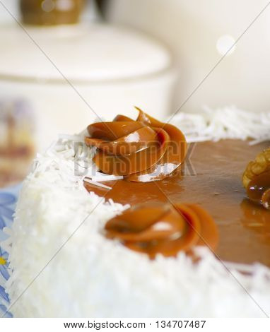 biscuit cake with custard on the table