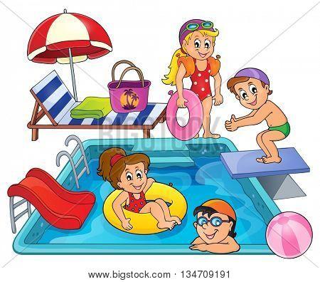 Children by pool theme image 1 - eps10 vector illustration.