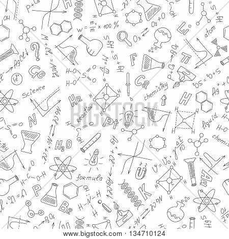 Seamless pattern with formulasgraphs and equipment as the subject of chemistry dark outline on a white background