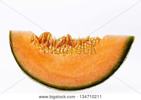 fresh melon cantaloupe isolated on white background.