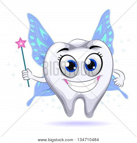 Vector Illustration of Cute Tooth Mascot Fairy