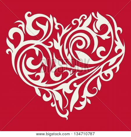 Valentine's day card. Pattern in the form of heart. Floral heart. Tracery heart. Vector.