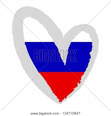 Russian flag. Vector Illustration. Russian flag in the the shape of heart.
