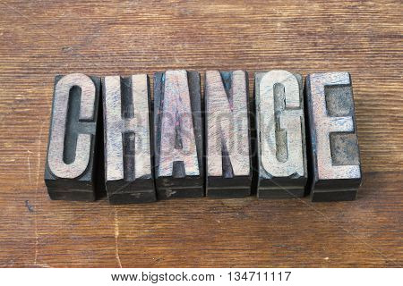 change word made from scattered wooden letterpress type on grunge wood