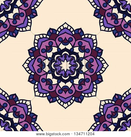 Seamless round ornament pattern. Islam Arabic Indian ottoman motifs. Seamless mandala pattern. Vector beautiful pattern.