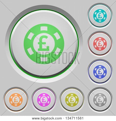 Set of color Pound casino chip sunk push buttons.