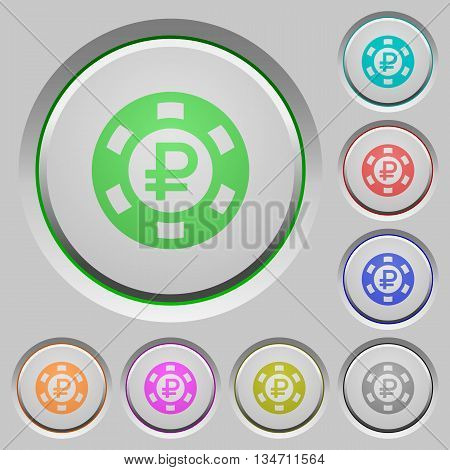 Set of color Ruble casino chip sunk push buttons.