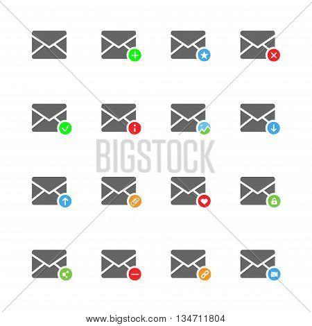 E-mail flat vector icons set of 16