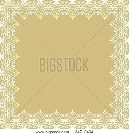 Classic vector square white frame with arabesques and orient elements. Abstract fine ornament with place for text