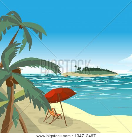 Summer beach concept background with space for text. Sea landscape summer beach palms island sun umbrellas beach beds. Vector cartoon flat illustration.