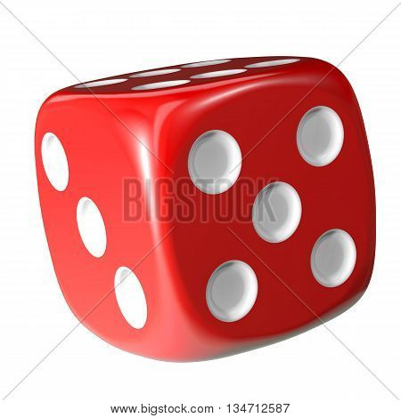 Red dice on white background. 3d rendering