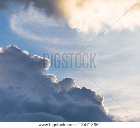 Cumulus Sunset Clouds With Sun Setting Down, Beautiful Sky